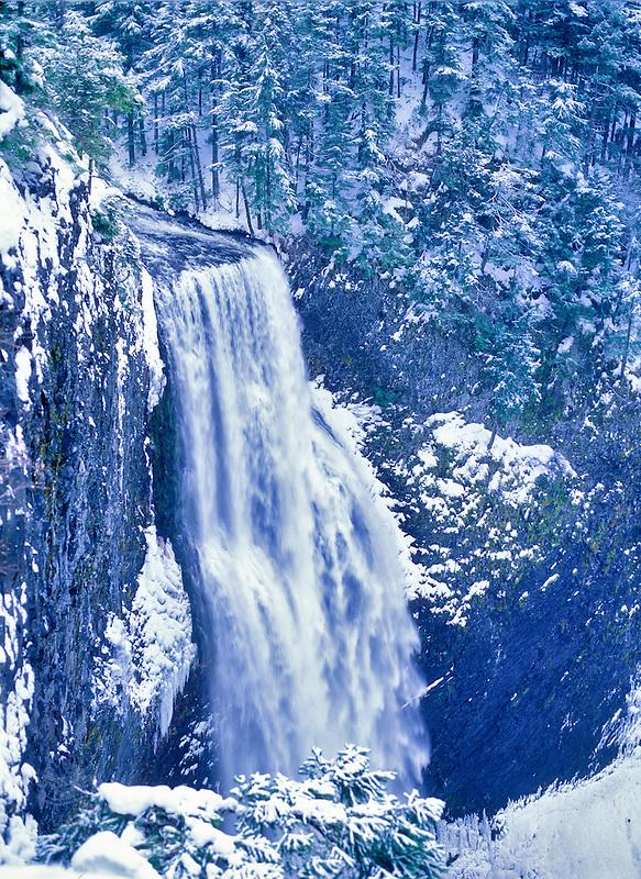 Salt Creek Falls with snow. Oregon.
