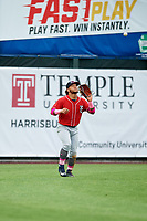 New Hampshire Fisher Cats left fielder Harold Ramirez (23) settles under a fly ball during the first game of a doubleheader against the Harrisburg Senators on May 13, 2018 at FNB Field in Harrisburg, Pennsylvania.  New Hampshire defeated Harrisburg 6-1.  (Mike Janes/Four Seam Images)