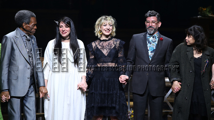 Andre De Shields, Rachel Clavkin, Anais Mitchell, David Neumann andEva Noblezada during Broadway Opening Night Performance Curtain Call for 'Hadestown' at the Walter Kerr Theatre on April 17, 2019 in New York City.
