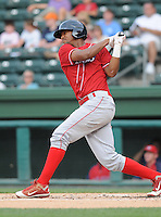 Outfielder Domingo Santana (13) of the Lakewood BlueClaws, Class A affiliate of the Philadelphia Phillies, in a game against the Greenville Drive on July 13, 2011, at Fluor Field at the West End in Greenville, South Carolina. (Tom Priddy/Four Seam Images)