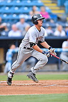 Charleston RiverDogs right fielder Blake Rutherford (23) swings at a pitch during a game against the Asheville Tourists at McCormick Field on July 5, 2017 in Asheville, North Carolina. The RiverDogs defeated the Tourists 10-9. (Tony Farlow/Four Seam Images)