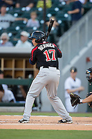 Doug Bernier (17) of the Rochester Red Wings at bat against the Charlotte Knights at BB&T BallPark on August 8, 2015 in Charlotte, North Carolina.  The Red Wings defeated the Knights 3-0.  (Brian Westerholt/Four Seam Images)