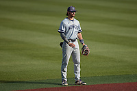Old Dominion Monarchs shortstop Tommy Bell (11) on defense against the Charlotte 49ers at Hayes Stadium on April 23, 2021 in Charlotte, North Carolina. (Brian Westerholt/Four Seam Images)