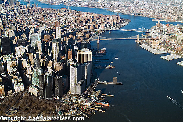 aerial photograph downtown Manhattan, Battery Park, East river, New York City