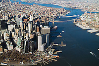 aerial photograph downtown Manhattan, Battery Park, East river, New York City