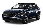 2022 Hyundai Tucson Limited 5 Door SUV Angular Front automotive stock photos of front three quarter view