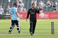 Tom Smith of Gloucestershire celebrates taking the wicket of Will Buttleman during Gloucestershire vs Essex Eagles, Royal London One-Day Cup Cricket at the Bristol County Ground on 3rd August 2021