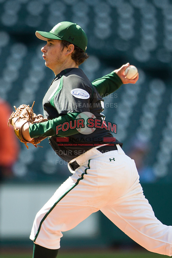 Hawaii Rainbow Warriors pitcher Cody Culp (36) delivers a pitch to the plate during Houston College Classic against the Baylor Bears on March 6, 2015 at Minute Maid Park in Houston, Texas. Hawaii defeated Baylor 2-1. (Andrew Woolley/Four Seam Images)
