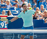 Roger Federer (SUI) wins over Vasek Pospisil (CAN) at the Western & Southern Open in a three set match by 76(4) 57 62 in Mason, OH on August 13, 2014.