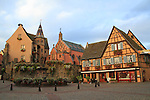 Early morning at the town square in Eguisheim, Alsace, France