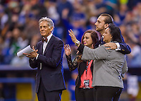 2 April 2016: Major League Baseball executive John McHale, Jr. (left) and the Fanning family pay respect to the late Jim Fanning in a tribute ceremony prior to a pre-season exhibition series between the Blue Jays and the Boston Red Sox at Olympic Stadium in Montreal, Quebec, Canada. The Red Sox defeated the Blue Jays 7-4 in the second of two MLB weekend games, which saw a two-game series attendance of 106,102 at the former home on the Montreal Expos. Mandatory Credit: Ed Wolfstein Photo *** RAW (NEF) Image File Available ***