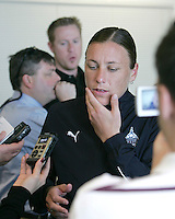 Abby Wambach pomders a question during Washington Freedom  practice and media event at the Maryland Soccerplex on March 25 in Boyd's, Maryland.