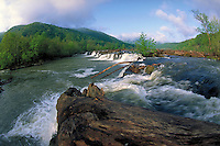 Sandstone Falls on the New River, National Scenic River in Spring. Near Hinton, WV. Scenic, Waterfall, Spring, Seasons. Hinton West Virginia USA New River National River.