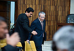 Former Guatemalan dictator Efrain Rios MonttIn enters the court in the Supreme Court of Justice Guatemala CIty March 19, 2013.