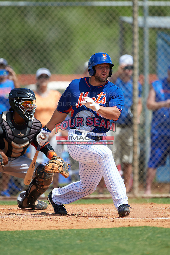 New York Mets outfielder Tim Tebow (15) hits a foul ball down the line during an Instructional League game against the Miami Marlins on September 29, 2016 at Port St. Lucie Training Complex in Port St. Lucie, Florida.  (Mike Janes/Four Seam Images)