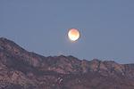 Lunar eclipse & San Jacinto Mountains, CA.
