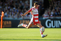 20130801 Copyright onEdition 2013 ©<br /> Free for editorial use image, please credit: onEdition.<br /> <br /> Billy Burns of Gloucester Rugby 7s takes a kick during the J.P. Morgan Asset Management Premiership Rugby 7s Series.<br /> <br /> The J.P. Morgan Asset Management Premiership Rugby 7s Series kicks off for the fourth season on Thursday 1st August with Pool A at Kingsholm, Gloucester with Pool B being played at Franklin's Gardens, Northampton on Friday 2nd August, Pool C at Allianz Park, Saracens home ground, on Saturday 3rd August and the Final being played at The Recreation Ground, Bath on Friday 9th August. The innovative tournament, which involves all 12 Premiership Rugby clubs, offers a fantastic platform for some of the country's finest young athletes to be exposed to the excitement, pressures and skills required to compete at an elite level.<br /> <br /> The 12 Premiership Rugby clubs are divided into three groups for the tournament, with the winner and runner up of each regional event going through to the Final. There are six games each evening, with each match consisting of two 7 minute halves with a 2 minute break at half time.<br /> <br /> For additional images please go to: http://www.w-w-i.com/jp_morgan_premiership_sevens/<br /> <br /> For press contacts contact: Beth Begg at brandRapport on D: +44 (0)20 7932 5813 M: +44 (0)7900 88231 E: BBegg@brand-rapport.com<br /> <br /> If you require a higher resolution image or you have any other onEdition photographic enquiries, please contact onEdition on 0845 900 2 900 or email info@onEdition.com<br /> This image is copyright the onEdition 2013©.<br /> <br /> This image has been supplied by onEdition and must be credited onEdition. The author is asserting his full Moral rights in relation to the publication of this image. Rights for onward transmission of any image or file is not granted or implied. Changing or deleting Copyright information is illegal as specified in the Copyright, Design and Patents Act 1988. If you are in any way unsure of your right to publish this image please contact onEdit