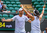 London, England, 11 July, 2019, Tennis,  Wimbledon, Mixed Doubles: Zhaoxuan Yang (CHN) and Matwe Middelkoop  (NED) celebrate their win<br /> Photo: Henk Koster/tennisimages.com
