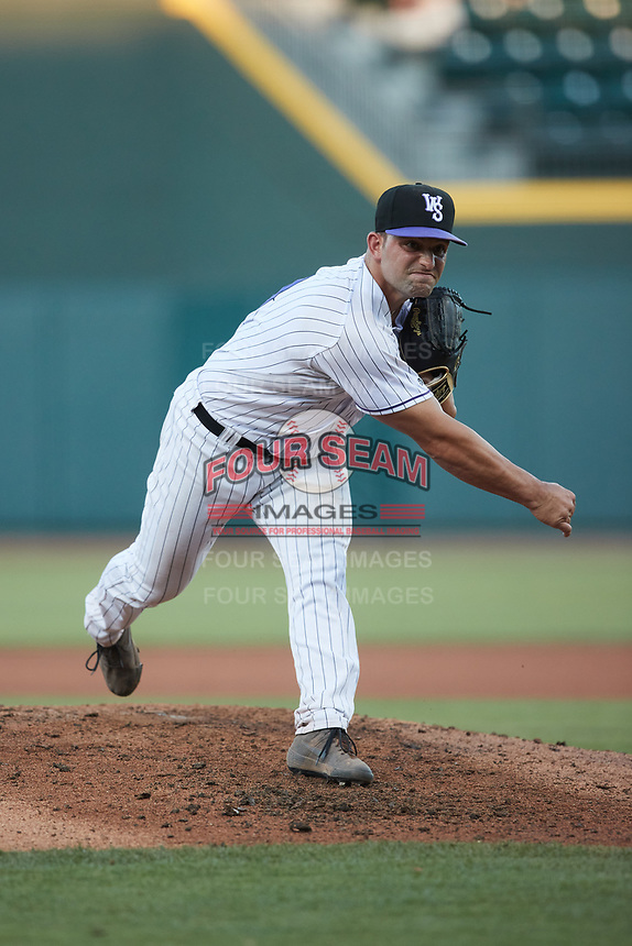 Winston-Salem Dash relief pitcher Sal Biasi (10) in action against the Greensboro Grasshoppers at Truist Stadium on June 17, 2021 in Winston-Salem, North Carolina. (Brian Westerholt/Four Seam Images)