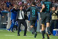 Chelsea's coach Antonio Conte and Alvaro Morata celebrating a goal during UEFA Champions League match between Atletico de Madrid and Chelsea at Wanda Metropolitano in Madrid, Spain September 27, 2017.  *** Local Caption *** © pixathlon<br /> Contact: +49-40-22 63 02 60 , info@pixathlon.de