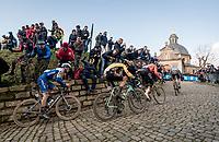Zdenek Stybar (CZE/Deceuninck - QuickStep), Wout van Aert (BEL/Jumbo - Visma), Greg Van Avermaet (BEL/CCC) & Oliver Naesen (BEL/AG2R-LaMondiale) up the Kapelmuur / Muur van Geraardsbergen<br /> <br /> 75th Omloop Het Nieuwsblad 2020 (1.UWT)<br /> Gent to Ninove (BEL): 200km<br /> <br /> ©kramon