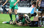 Flanker Eoin McKeon dives over to score Connachts only try of the match.<br /> Guiness Pro12<br /> Ospreys v Connacht<br /> Liberty Stadium<br /> 31.10.14<br /> ©Steve Pope-SPORTINGWALES