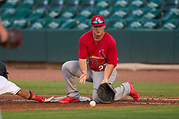 Palm Beach Cardinals first baseman Jacob Buchberger (27) picks a throw during a game against the Jupiter Hammerheads on May 11, 2021 at Roger Dean Chevrolet Stadium in Jupiter, Florida.  (Mike Janes/Four Seam Images)