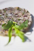 Europe/France/Limousin/19/Corrèze/Brive-la-Gaillarde:  Tartare de bar de pêche au citron confit, recette de Cédric Nieuviarts, restaurant: L'Envie au Château de Lacan