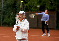 Netherlands, Amstelveen, August 18, 2015, Tennis,  National Veteran Championships, NVK, TV de Kegel,  Lady's doubles 80+ years,  Anneke Balics (R) and Wies Schuitemaker<br /> Photo: Tennisimages/Henk Koster