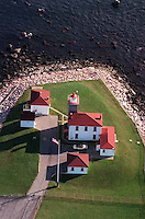 An aerial view of Watch Hill Lighthouse