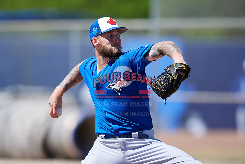 Toronto Blue Jays pitcher Sean Reid-Foley (64) during a Minor League Spring Training Intrasquad game on March 14, 2018 at Englebert Complex in Dunedin, Florida.  (Mike Janes/Four Seam Images)