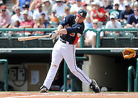 15 March 2009: Infielder Freddie Freeman (76) of the Atlanta Braves hits in a game against the Houston Astros at the Braves' Spring Training camp at Disney's Wide World of Sports in Lake Buena Vista, Fla. Photo by:  Tom Priddy/Four Seam Images