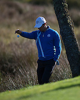 26.09.2014. Gleneagles, Auchterarder, Perthshire, Scotland.  The Ryder Cup.  Rory McIlroy (EUR) takes a drop on the fifth hole during Friday Fourballs.