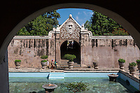 Yogyakarta, Java, Indonesia.  Taman Sari, the Water Castle, mid-18th. Century, built for the Islamic Sultan.  Hindu Deity Kala above the Gateway Leading from the Water Castle.