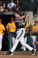 Cody Libman #24 of the Northwestern Wildcats bats against the USC Trojans at Dedeaux Field on  February 16, 2014 in Los Angeles, California. USC defeated Northwestern, 13-6. (Larry Goren/Four Seam Images)
