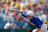 Florida's starting pitcher Hudson Randall in Game 5 of the NCAA Division One Men's College World Series on Monday June 21st, 2010 at Johnny Rosenblatt Stadium in Omaha, Nebraska.  (Photo by Andrew Woolley / Four Seam Images)