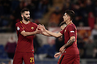 Calcio, Serie A: AS Roma - Torino Roma, stadio Olimpico, 9 marzo, 2018.<br /> Roma's Lorenzo Pellegrini (r) celebrates after scoring with his teammate Maxime Gonalons (l) during the Italian Serie A football match between AS Roma and Torino at Rome's Olympic stadium, 9 marzo, 2018.<br /> UPDATE IMAGES PRESS/Isabella Bonotto