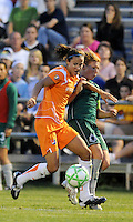Keeley Dowling (orange) , Lori Chalupny..Saint Louis Athletica defeated Sky Blue F.C 1-0, at Anheuser-Busch Soccer Park, Fenton, MO.