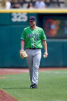 Gwinnett Stripers pitcher Chad Bell (19) during a game against the Columbus Clippers on May 17, 2018 at Huntington Park in Columbus, Ohio.  Gwinnett defeated Columbus 6-0.  (Mike Janes/Four Seam Images)