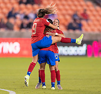 HOUSTON, TX - JANUARY 28: Gloriana Villalobos #9 helps to celebrate the goal of teammate Priscila Chinchilla #14 of Costa Rica during a game between Costa Rica and Panama at BBVA Stadium on January 28, 2020 in Houston, Texas.