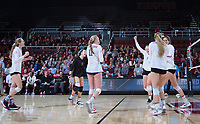 STANFORD, CA - December 1, 2017: Morgan Hentz, Kate Formico, Jenna Gray, Kathryn Plummer, Audriana Fitzmorris at Maples Pavilion. The Stanford Cardinal defeated the CSU Bakersfield Roadrunners 3-0 in the first round of the NCAA tournament.