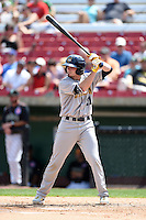 Burlington Bees second baseman Kody Eaves (21) at bat during a game against the Kane County Cougars on August 20, 2014 at Third Bank Ballpark in Geneva, Illinois.  Kane County defeated Burlington 7-3.  (Mike Janes/Four Seam Images)