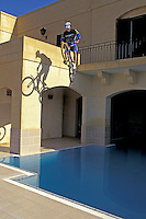 Martyn Ashton dropping into pool on Cannondale bike , Gozo , Malta   <br /> pic copyright Steve Behr / Stockfile
