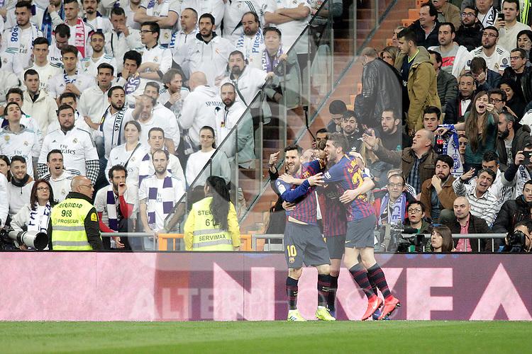 FC Barcelona's team celebrate goal during La Liga match. March 02,2019. (ALTERPHOTOS/Alconada)