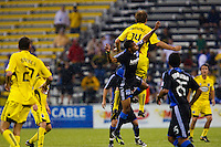 27 MAY 2009: #14 Chad Marshall, Columbus Crew defender and #19 Ryan Johnson of the San Jose Earthquakes  in action during the San Jose Earthquakes at Columbus Crew MLS game in Columbus, Ohio on May 27, 2009. The Columbus Crew defeated San Jose 2-1