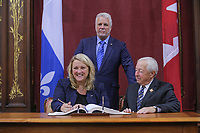 Lise Theriault is sworn in as Ministre responsable de la Protection des consommateurs et de líHabitation (Minister of Consumer protection and housing) of the new Liberal cabinet at the National Assembly in Quebec city October 11, 2017.<br /> <br /> PHOTO :  Francis Vachon - Agence Quebec Presse