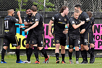 Team Wellington players celebrate a goal  during the ISPS Handa Men's Premiership - Team Wellington v Hawke's Bay United at David Farrington Park, Wellington on Saturday 21 November 2020.<br /> Copyright photo: Masanori Udagawa /  www.photosport.nz