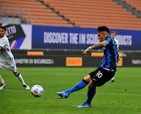 Inter Milan's Lautaro Martinez kicks the ball to score on a penalty kick during the Italian Serie A football match between Inter Milan and Sampdoria at Milan's Giuseppe Meazza stadium, May 8, 2021.<br /> UPDATE IMAGES PRESS/Isabella Bonotto
