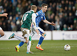 Hibs v St Johnstone...30.01.16   Utilita Scottish League Cup Semi-Final, Tynecastle..<br /> Steven MacLean is closd down by Dylan McGeouch<br /> Picture by Graeme Hart.<br /> Copyright Perthshire Picture Agency<br /> Tel: 01738 623350  Mobile: 07990 594431
