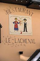 """Europe/France/Rhone-Alpes/73/Savoie/Saint-Martin-de-Belleville: Enseigne Hotel-Restaurant """"Le Lachenal"""""""
